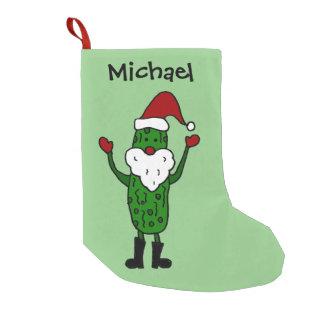 サンタの帽子のクリスマスのストッキングのおもしろいなピクルス スモールクリスマスストッキング