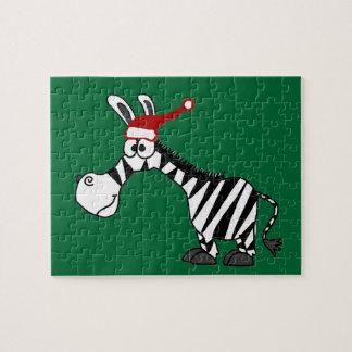 サンタの帽子のクリスマスの漫画のおもしろいなシマウマ ジグソーパズル