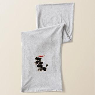 サンタの帽子のクリスマスの芸術のおもしろいで黒いプードル スカーフ
