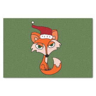 サンタの帽子のクリスマスの芸術のおもしろいなアカギツネ 薄葉紙