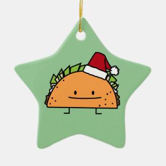 サンタの帽子のクリスマスの貝肉サルサを身に着けているタコス セラミックオーナメント