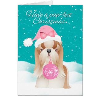 サンタの帽子のクリスマスカードのシーズー(犬)のTzu犬 カード