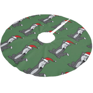 サンタの帽子のクリスマスツリーのスカートのおもしろいなオオカミ ブラッシュドポリエステルツリースカート