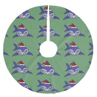 サンタの帽子のクリスマスツリーのスカートのおもしろいな鮫 ツリースカート