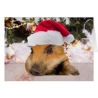 サンタの帽子のクリスマスツリーの甘いブタ カード