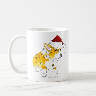 サンタの帽子のコーギーのマグ コーヒーマグカップ
