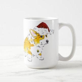 サンタの帽子のコーギー コーヒーマグカップ