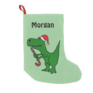 サンタの帽子のストッキングのおもしろいなTレックスの恐竜 スモールクリスマスストッキング