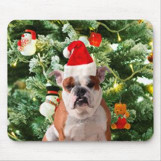サンタの帽子のブルドッグのクリスマスツリーの雪だるまのギフト用の箱 マウスパッド