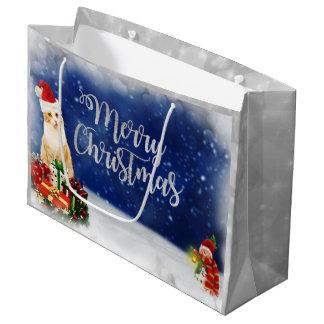 サンタの帽子のメリークリスマスの猫 ラージペーパーバッグ