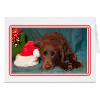 サンタの帽子の写真が付いている組み立てられた睡眠チョコレート実験室 カード