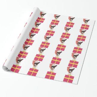 サンタの帽子の包装紙のおもちゃのフォックステリア犬 ラッピングペーパー
