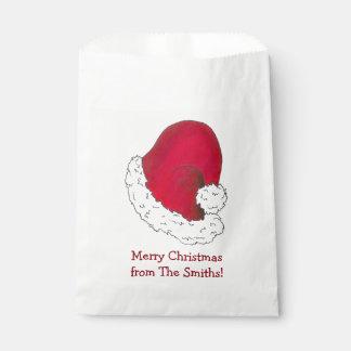 サンタの帽子の名前入りなメリークリスマスの御馳走バッグ フェイバーバッグ