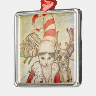サンタの帽子の猫 メタルオーナメント