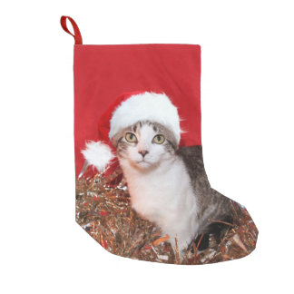 サンタの帽子の虎猫の子猫 スモールクリスマスストッキング