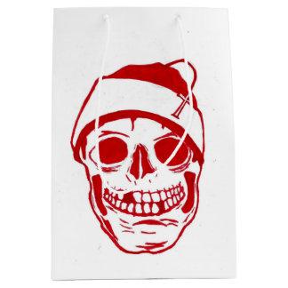 サンタの帽子の赤いスカル ミディアムペーパーバッグ