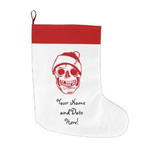 サンタの帽子の赤いスカル ラージクリスマスストッキング
