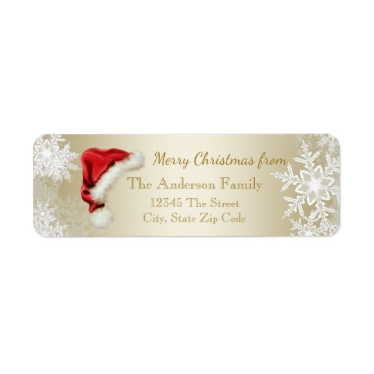 サンタの帽子の雪片のクリスマスの差出人住所 返信用宛名ラベル