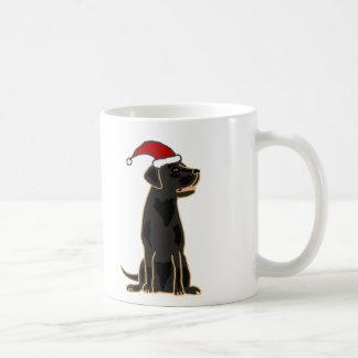 サンタの帽子の黒いラブラドル・レトリーバー犬 コーヒーマグカップ