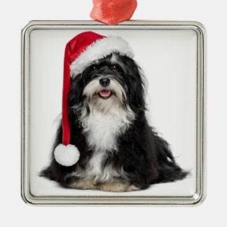 サンタの帽子を持つクリスマスのHavaneseおもしろいな犬 メタルオーナメント