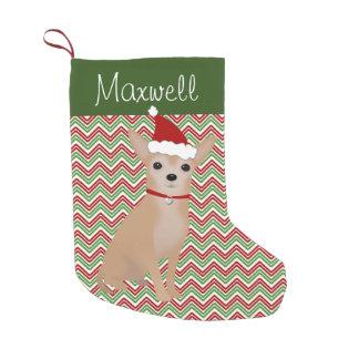 サンタの帽子を持つタンの名前入りなチワワ スモールクリスマスストッキング