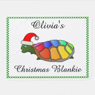 サンタの帽子を持つ名前入りなクリスマスのカメ ベビー ブランケット