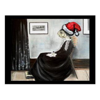 サンタの帽子を持つ魚としてホイスラーの母 ポストカード