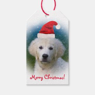 サンタの帽子を身に着けているかわいいゴールデン・リトリーバーの子犬 ギフトタグ