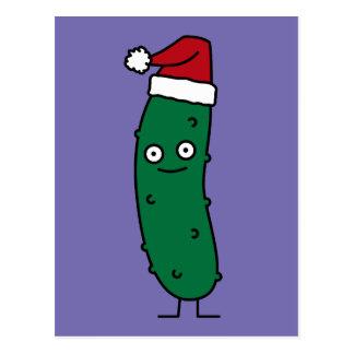 サンタの帽子を身に着けているクリスマスのディル・ピクルス ポストカード