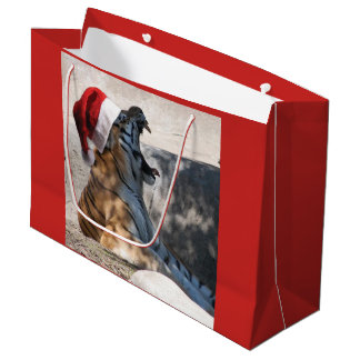 サンタの帽子を身に着けているクリスマスのベンガルトラ ラージペーパーバッグ