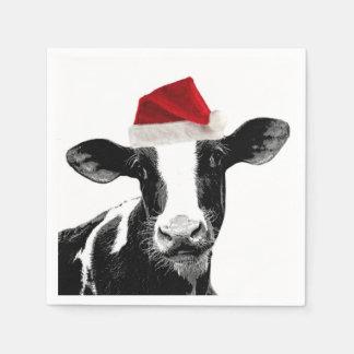 サンタの帽子を身に着けているクリスマス牛 スタンダードカクテルナプキン
