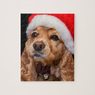 サンタの帽子を身に着けているコッカースパニエル ジグソーパズル