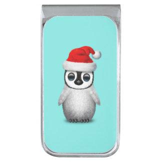 サンタの帽子を身に着けているベビーのペンギン 銀色 マネークリップ