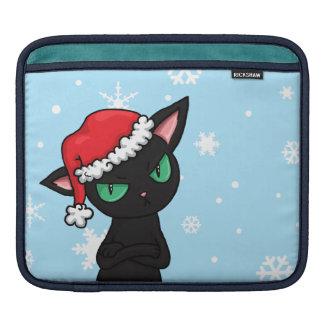 サンタの帽子を身に着けている気難しい黒猫 iPadスリーブ