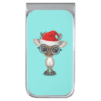 サンタの帽子を身に着けている真面目なベビーのトナカイ 銀色 マネークリップ