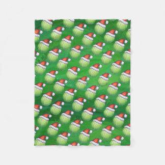 サンタの帽子パターンの緑のテニス・ボール フリースブランケット