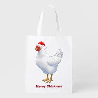サンタの帽子メリーなChickmasの白い雌鶏 エコバッグ