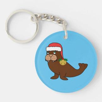 サンタの帽子及び金ゴールド鐘のクリスマスのセイウチ キーホルダー
