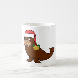 サンタの帽子及び金ゴールド鐘のクリスマスのセイウチ コーヒーマグカップ