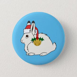 サンタの帽子及び金ゴールド鐘の白い北極ノウサギ 5.7CM 丸型バッジ