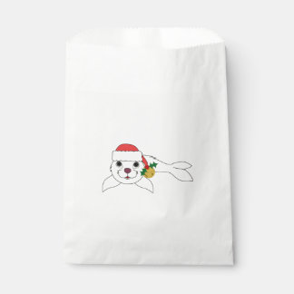サンタの帽子及び金ゴールド鐘の白い子どものアシカ フェイバーバッグ