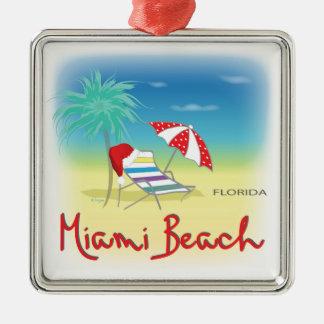 サンタの帽子、やしが付いているMiami Beach メタルオーナメント