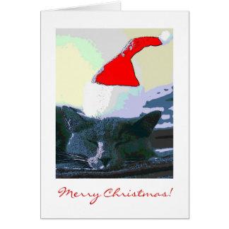 サンタの帽子、クリスマスカードの猫 グリーティングカード