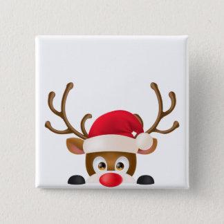 サンタの帽子Pinボタンを持つエレガントなトナカイ 5.1cm 正方形バッジ