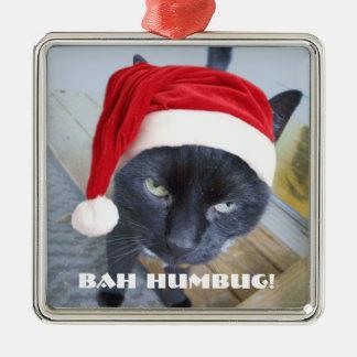 サンタの気難しい子猫 メタルオーナメント