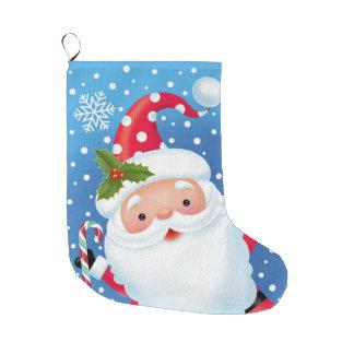 サンタの水玉模様の帽子のストッキング ラージクリスマスストッキング