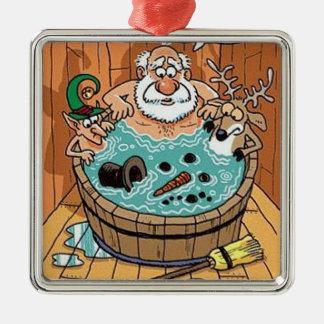 サンタの温水浴槽のクリスマスツリーのオーナメント メタルオーナメント