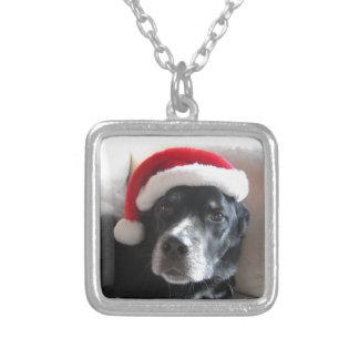 サンタの犬ラブラドールのロットワイラーの組合せ シルバープレートネックレス