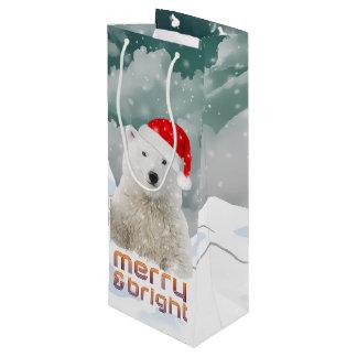 サンタの白くま  Bearyのクリスマスのギフトバッグ ワインギフトバッグ