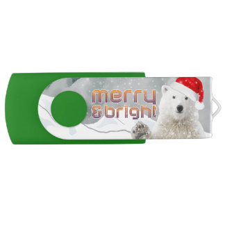 サンタの白くま| BearyのクリスマスUSBのフラッシュドライブ USBフラッシュドライブ